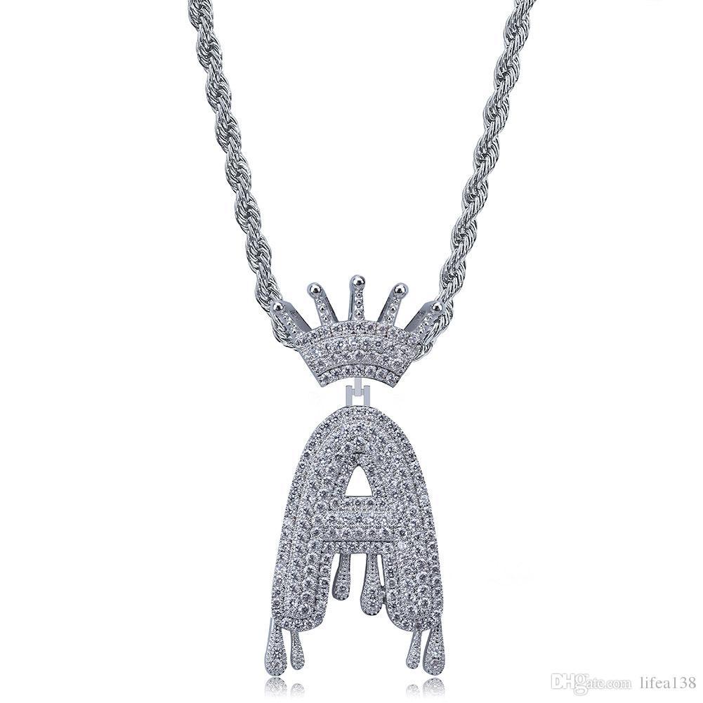 Benutzerdefinierte Crown Bail Tropf Blase Anfangsbuchstaben A-Z Kette Halsketten Anhänger Für Männer Frauen Silber Farbe Kubikzircon Hip Hop Schmuck