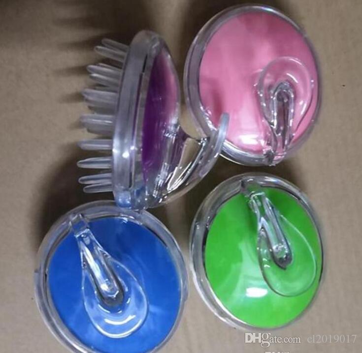 Yuvarlak silikon kafa masajı yıkamak için fırça masaj derisi kaşıntı banyo germinal plastik kafa meridyen tarak