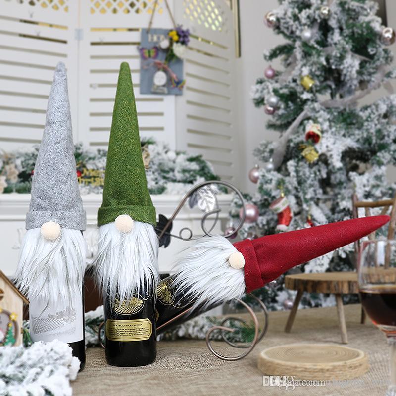 Şarap Şişesi Kapakları Noel Dekorasyon Noel Baba Şarap Şişesi Kapağı Hediye Santa Çuval Şişe Tutma Çantası Rustik Hessen Noel
