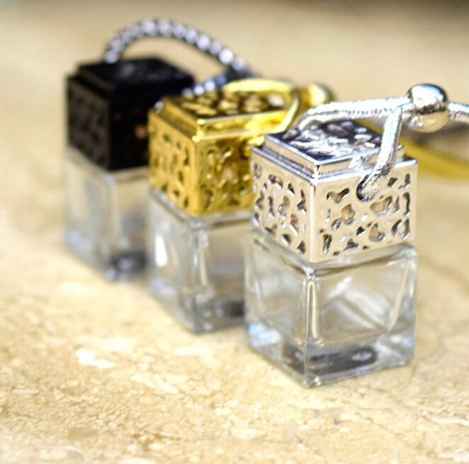 bouteille parfum Cube voiture parfum suspendu Rearview Ornement Désodorisant pour diffuseur d'huiles essentielles parfum Bouteille en verre vide