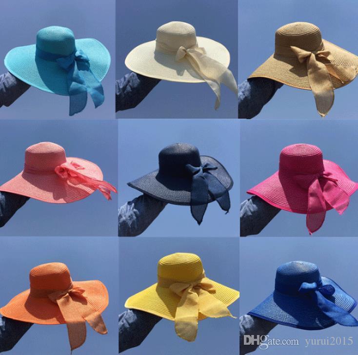 Woman Summer Large Brim Straw Hat Girls Straw Hats Wide Brim Large Brim Sun Beach Women Summer Vocation Anti uv Sunhat