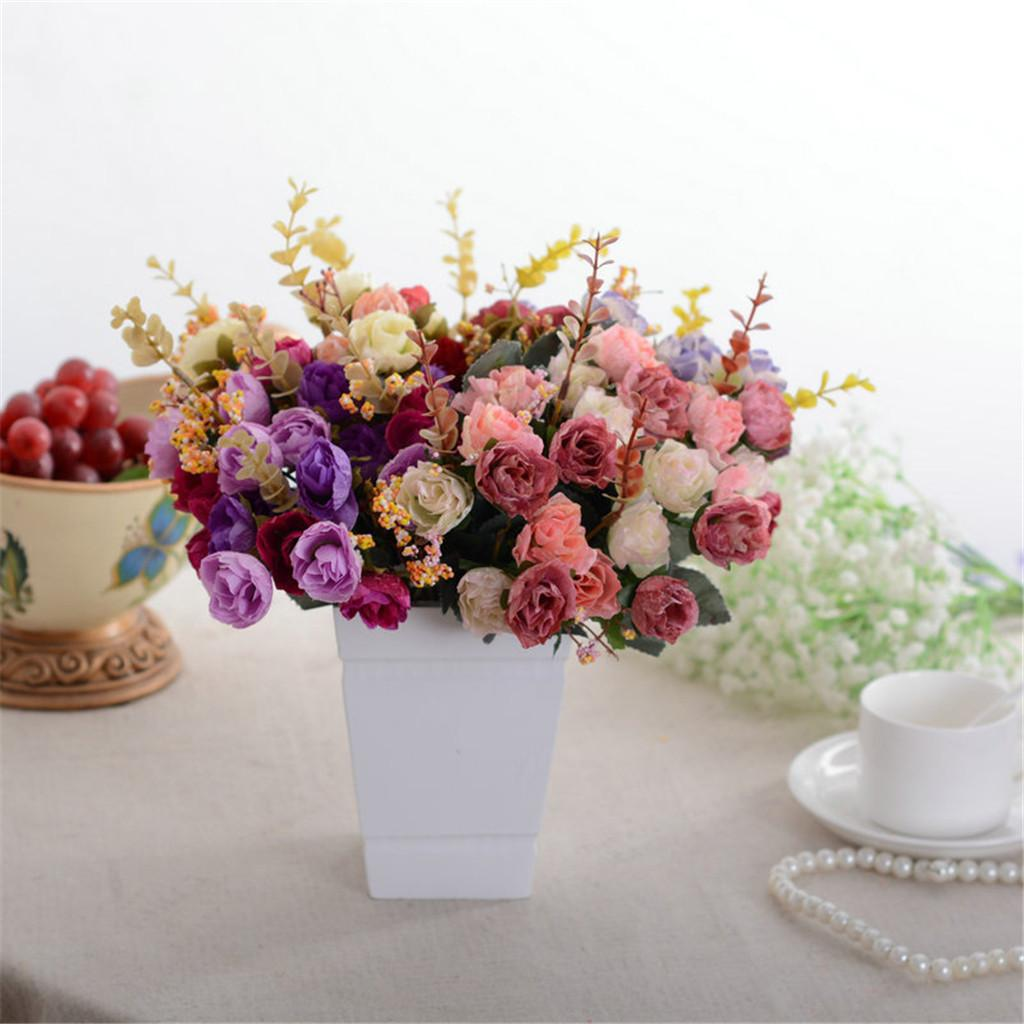 Outono Flores Artificiais Falsas Rose Bouquet De Seda 2 PCS 42 Cabeça Flores Falsas Festa de Casamento Acessórios de Decoração Para Casa Decoração do Quarto