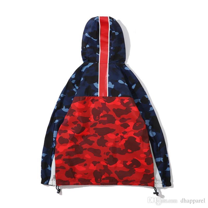 Felpe colore Splice felpe giacca da uomo giacca Lover's Blue Red Camo Sport giacca a vento Hip Hop