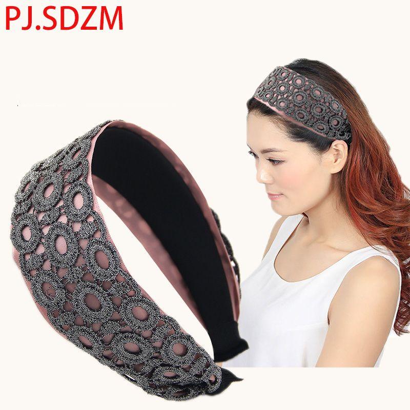 Tecido Lace Headband Broadside Preto Coreano Hairbands Acessórios Para o Cabelo para As Mulheres Headwear Elegante Moda Casual Faixa de Cabelo