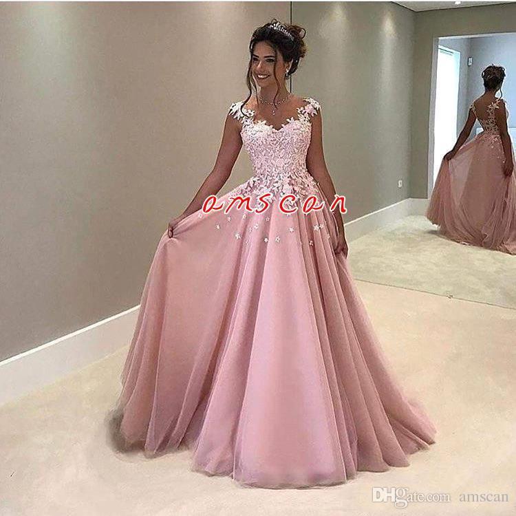 vestido de fiesta 2020 Sheer Elegante una linea vestiti in pizzo rosa sera Appliques del manicotto della protezione indietro formale abiti del partito Abiti lunghi Prom