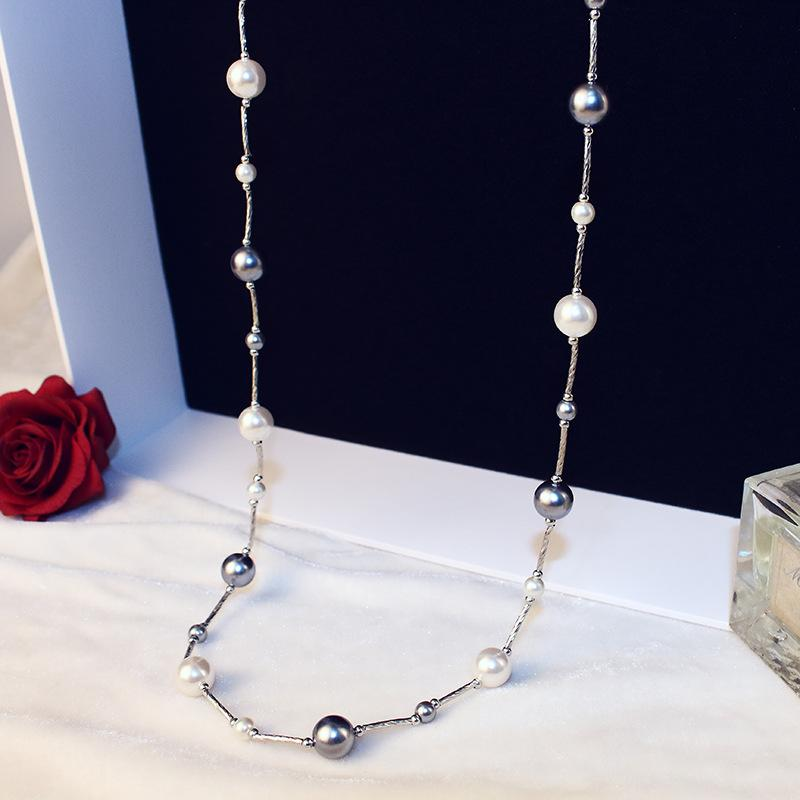 Collar de perlas de imitación gris de alta calidad para las mujeres joyería de moda dulce larga suéter cadena N00236