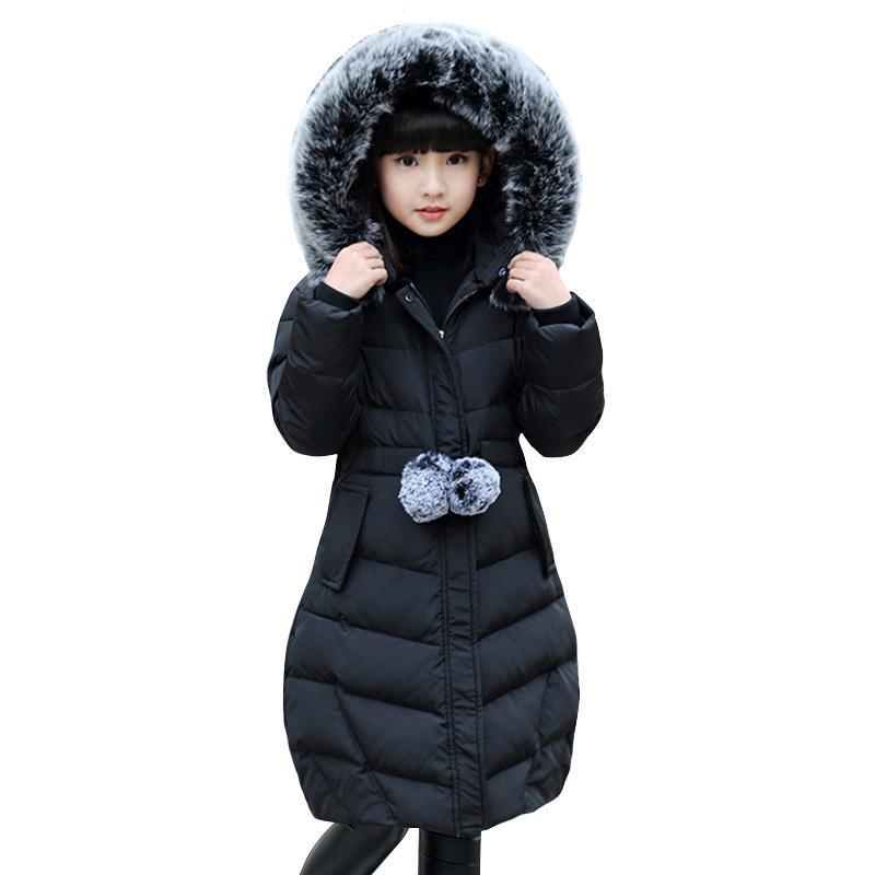 -30 grados niñas ropa de abrigo chaqueta de ropa de niña de invierno espesar Parka de piel con capucha niños abrigos Abrigos