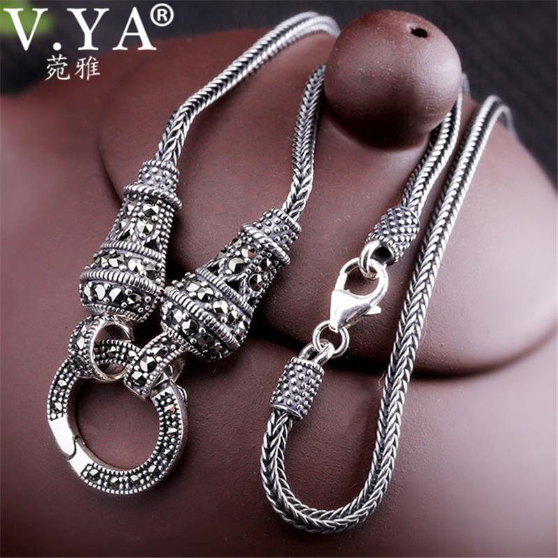 V.ya Thai lunga collana a catena per le donne 925 sterling silver Marcasite pietra pendente collane 1.5mm 60cm 70cm 75cm 80cm J190711