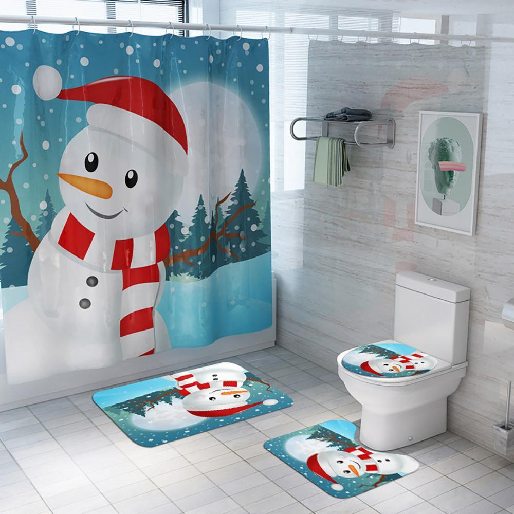 Bathroom Salle De Bain 2020 christmas little snowman bathroom shower curtain non slip toilet  polyester cover mat set carpet tapis salle de bain @10 from asite, $18.13 |
