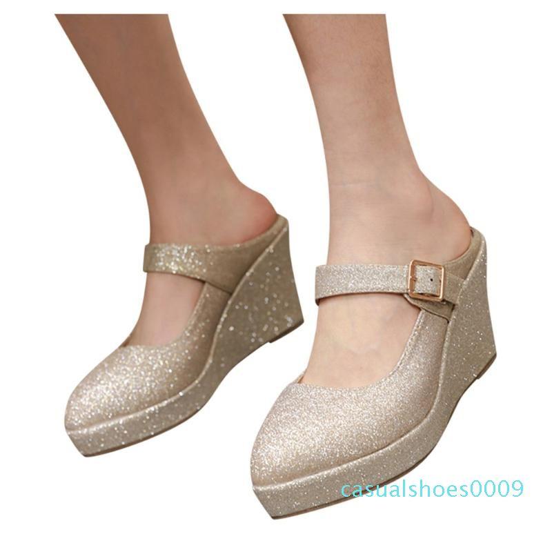 Mesdames Sandales Mode féminine solide Couleur Paillettes Chaussures Femme Wedges bling Sandal Slipper taille plus simple Wedges Chaussures C09