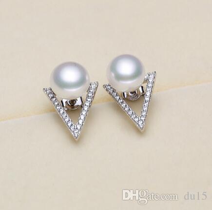 Orecchini di perle d'acqua dolce di grande [naturale] vera perla d'argento naturale 925 Panini cotti a vapore in argento tondo sezione genuina abbagliante