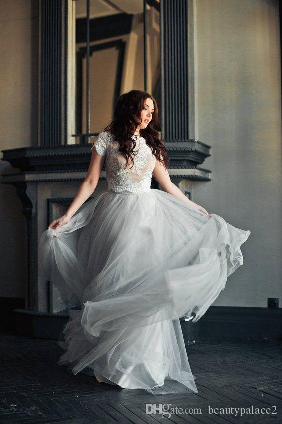 Mejor la venta de una línea de vestidos de novia dos piezas de plata de longitud de encaje de tul de novia vestidos de boda Top con manga corta
