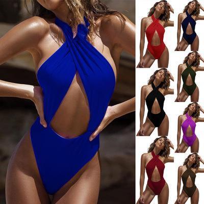 Biquíni Bodysuit Maiô de Uma Peça Nova Moda Sexy Verão Gravata Cinta Pendurado No Pescoço Plus Size Tanques de Praia Swimwear Roupas Femininas S-XL