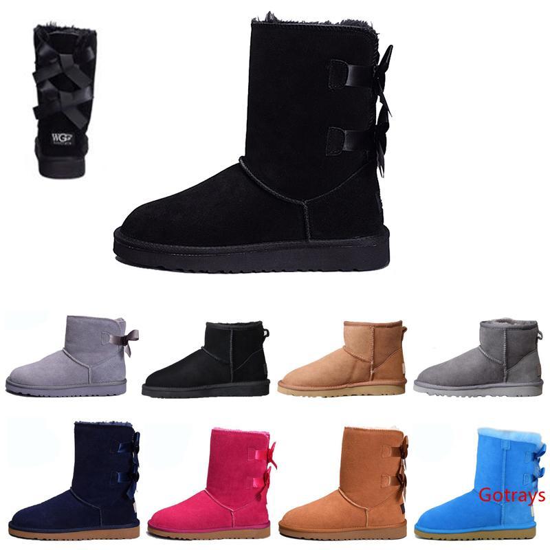 botas botas mulheres de designer botas menina Austrália clássico joelho alta arco curto Ankle joelho Bow MINI Bailey Bota ug