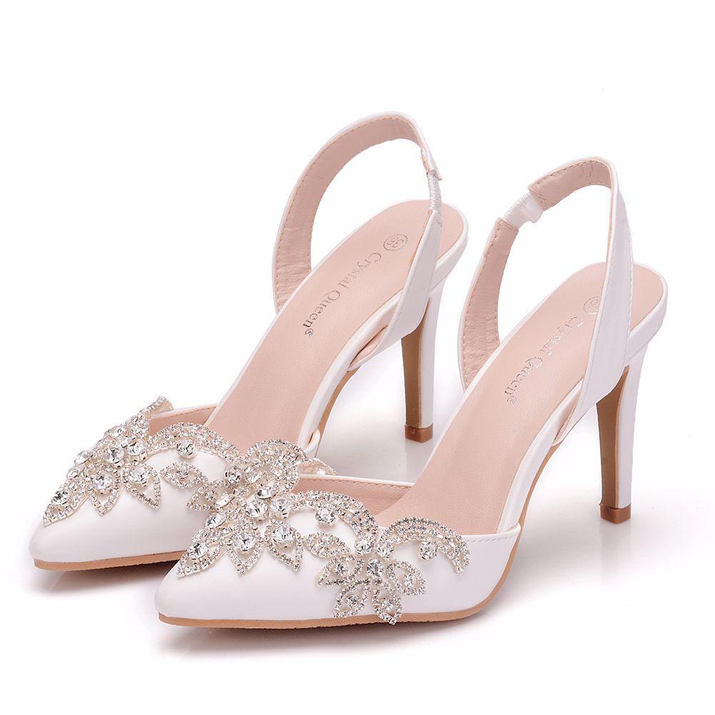 Cristal Rainha Rhinestone Wedding Shoes Sapato de bico fino salto alto lindo partido Prom Shoes dama Dress Shoes 10CM