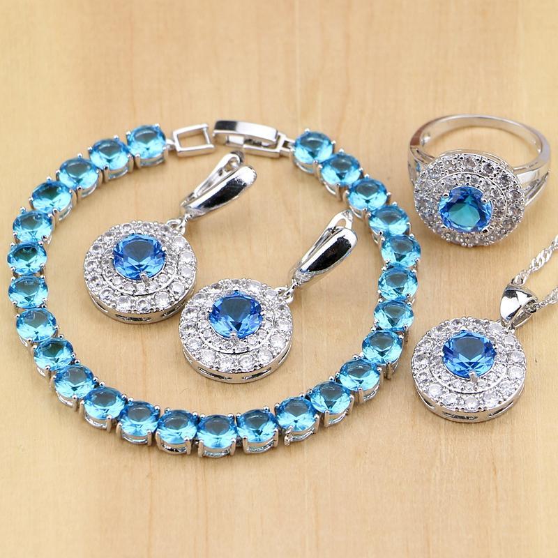Mavi Taşlı Gelin Takı Beyaz cz Taşlar 925 Gümüş Takı Seti Kadınlar Düğün Küpe / kolye / kolye / Yüzük / Bilezik