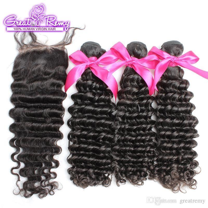 """En bruto profunda de la onda el 100% de las extensiones virginales brasileñas del pelo humano 3pcs tramas del pelo + 1pc Cierre cordón de 4 """"x 4"""" cabeza completa de colores naturales"""