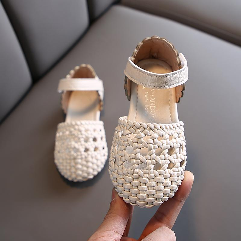 Girls Sandals Summer Cut-outs Woven Beach Sandals Kids Shoes for Girl Princess Shoes Size 21-30 Beige Pink SYY140