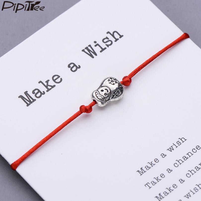 Pipitree nette russische Puppe Charm Armband Make-A-Karte Geschenk für Frauen Kinder Lucky Red String Armbänder Schmuck Einstellbar
