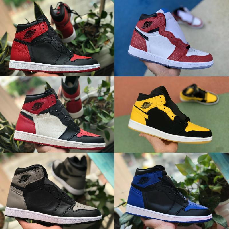 2020 New High OG Mid Mens 1 Basketball Shoes Game Royal Banned Shadow Black Toe Bred Red Blue White Shoes Cheap Women 1s Chicago Sneakers