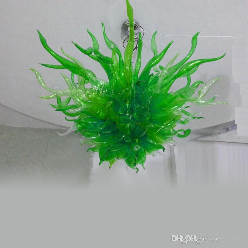 Colorato soffiato a mano verde vetro Arte contemporanea di cristallo luce del pendente LED Lobby Soggiorno Camera da plafone Murano Glass Chandelier