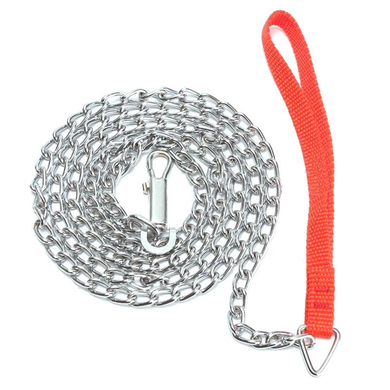 1.6 м тяжелые металлические цепи собака щенок прогулки ведущий поводок клип красная ручка