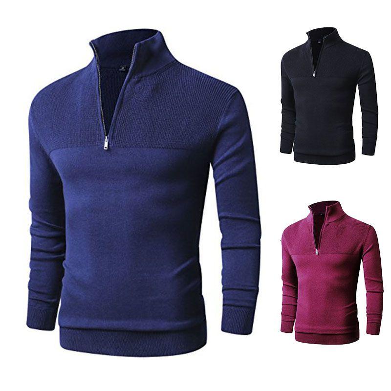100% Baumwolle Pollovers Pullover Männer beiläufige Strickjacke Pull Homme gestrickte Pullover Reißverschluss Rollkragen Langarm Strick 3XL Hots SH190930