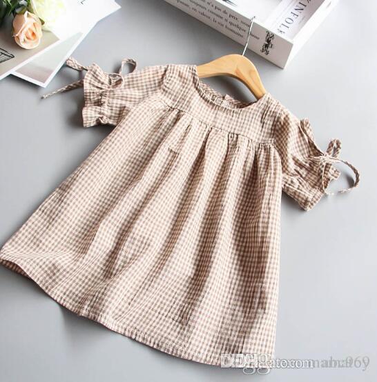 Girls Summer Doll Skirt Sleeveless Princess Cotton Dress kids Collar Stripe Lattice Tie Shirt Baby Birthday Party Clothes
