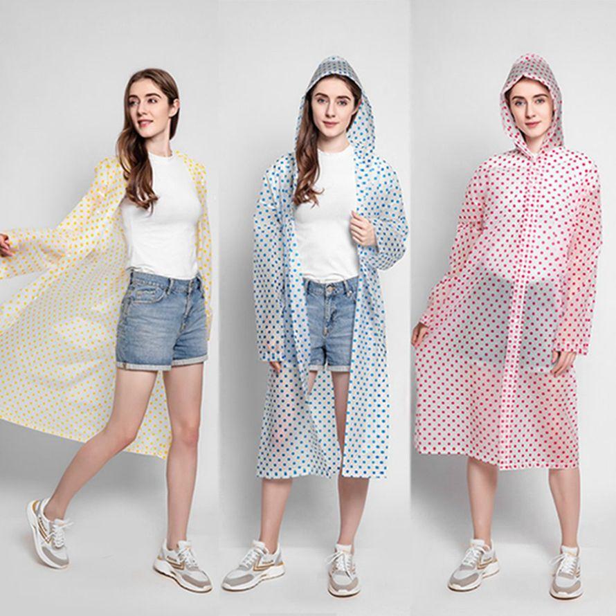 Mode vague point Raincoat avec chapeau réutilisable Camping Voyage Doit Rainwear EVA adulte unisexe Raincoat Femme Homme HHA1264
