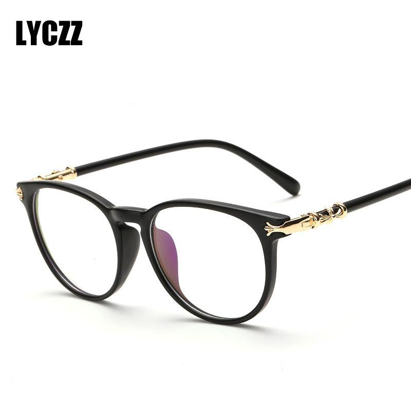 LYCZZ Marco de gafas de lente liso para mujeresHombres Moda Óptico Negro Anteojos Marco de gafas Retro lunette de vue th