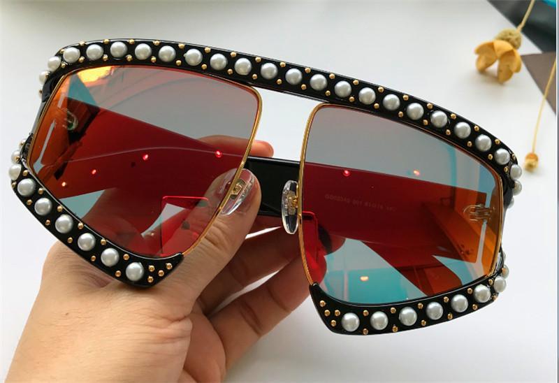 Lunettes de protection surdimensionnées, de style avant-gardiste et luxueuses, incrustées de monture et de pieds de rivets en perles