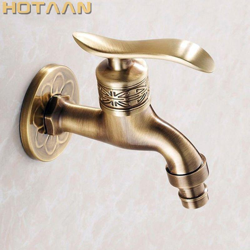 Bibcock torneira torneira guindaste Antique Brass Finish Bathroom Wall Mount Máquina de lavar roupa torneira de água Torneiras YT-5161-A