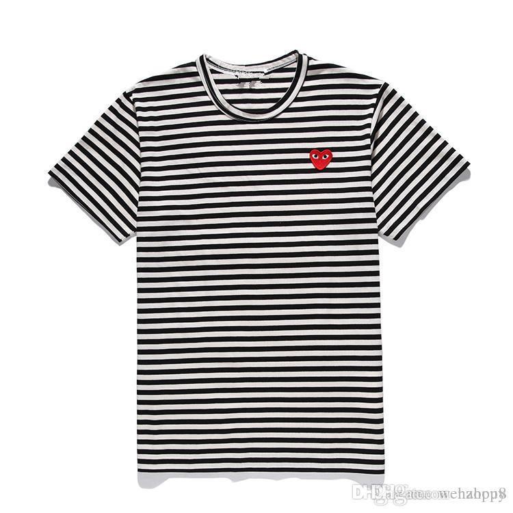 Mens конструктора тенниски CommeDes Garcons Япония Red Heart Off черный белый полосатые рубашки с коротким Тройник для летней одежды
