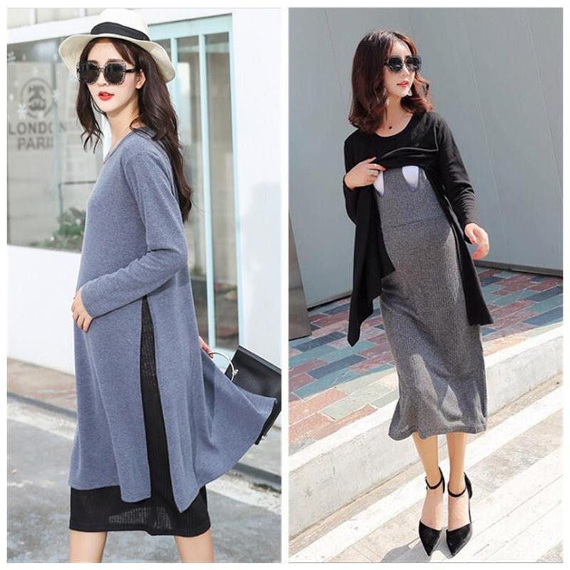 S-XXL 2019 Autumn and Winter Fake 2pcs Maternity Nursing Clothes Pregnant Women Dress Knitted Long-sleeved Breastfeeding Dress S200110