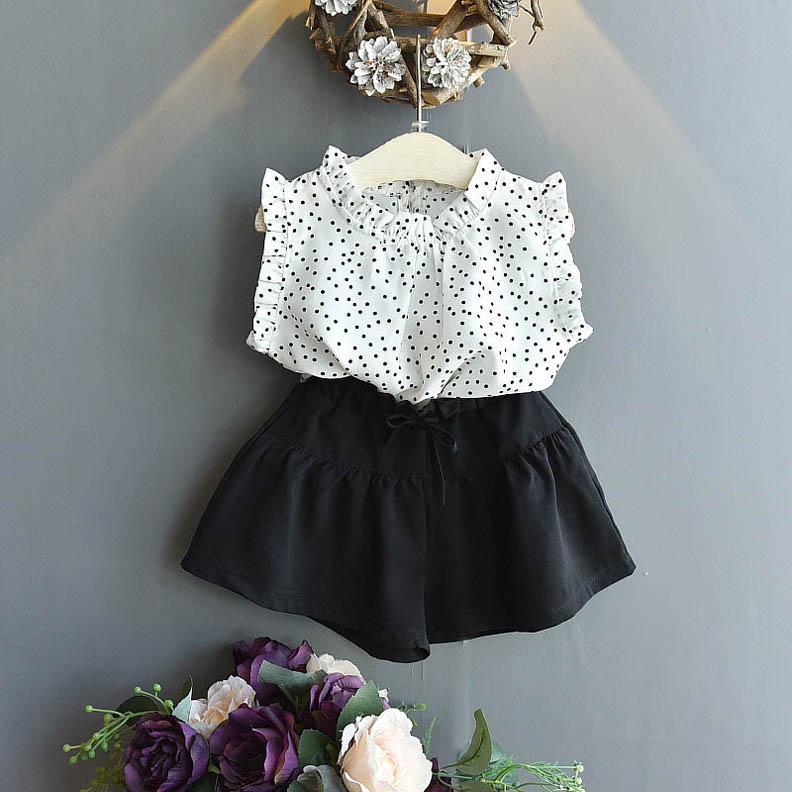 2020 yeni yaz tatlı kız takım elbise moda kız kıyafetler noktalar bluz + şort etek 2 adet / takım çocuklar giysi tasarımcısı kız setleri perakende b623