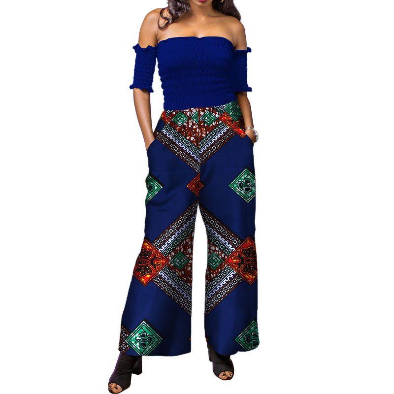 Impressão Africano Mulheres Macacão sem alças Outono Sem Mangas Sexy Romper Calças Perna Larga Senhoras Africanas Macacões Macacão WY3873