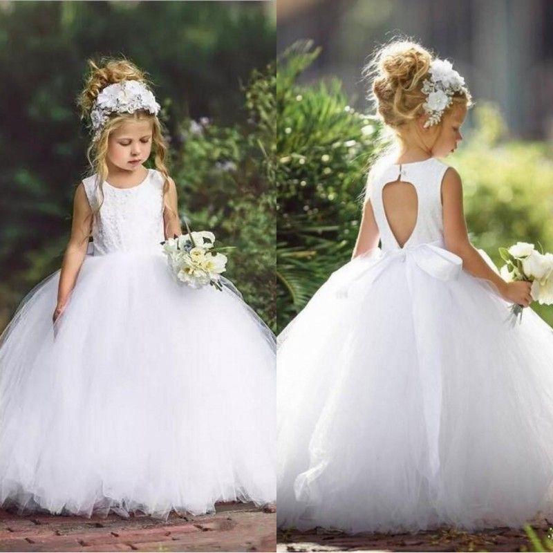 Compre Lindo Vestido De Bola Blanco De Tul Vestidos De Niña De Flores Cuello Sin Mangas Apliques De Encaje Sin Espalda Niño Pequeño Vestidos De Niña