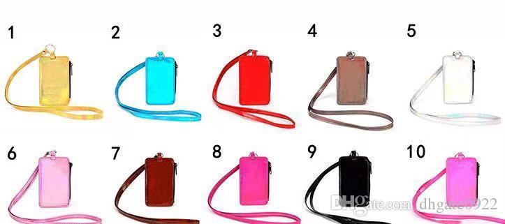 Titulaire de la carte avec Longe 10 couleurs PU lettre téléphone sangle de cou de lanière de carte d'identité sac de bourse de sac Organisateur