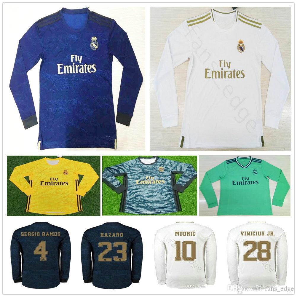 2019 2020 레알 마드리드 긴 소매 축구 유니폼 7 HAZARD MODRIC ASENSIO VINICIUS JR JOVIC MILITAO 사용자 정의 축구 셔츠 camisa de futebol