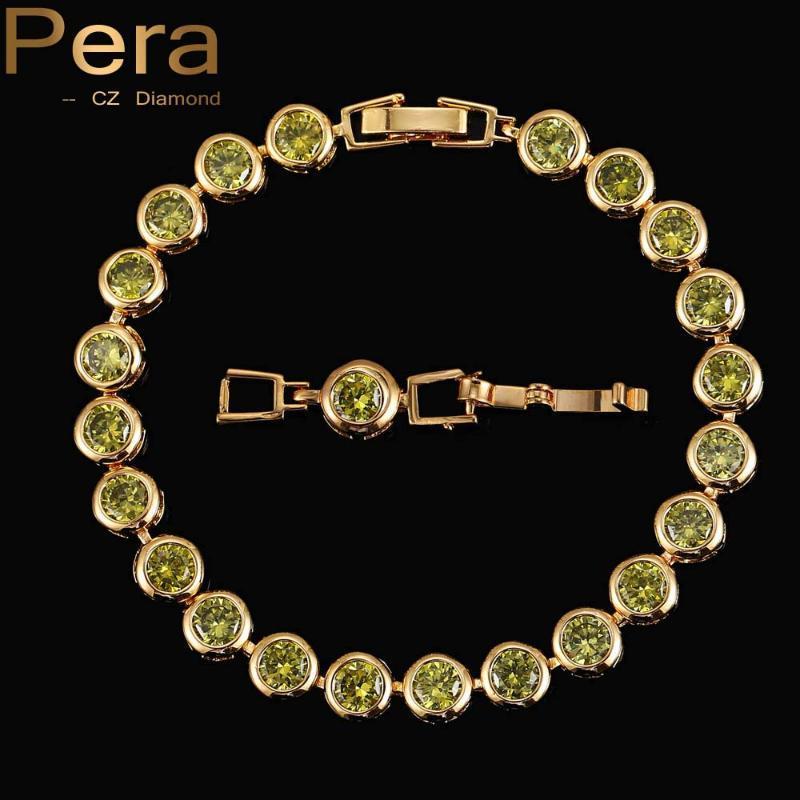 Pera Luxe Mesdames Zircon Bijoux Brillant Ronde Oliver Vert Cristal Couleur Or Pierre Bracelets Bangles pour les femmes B021