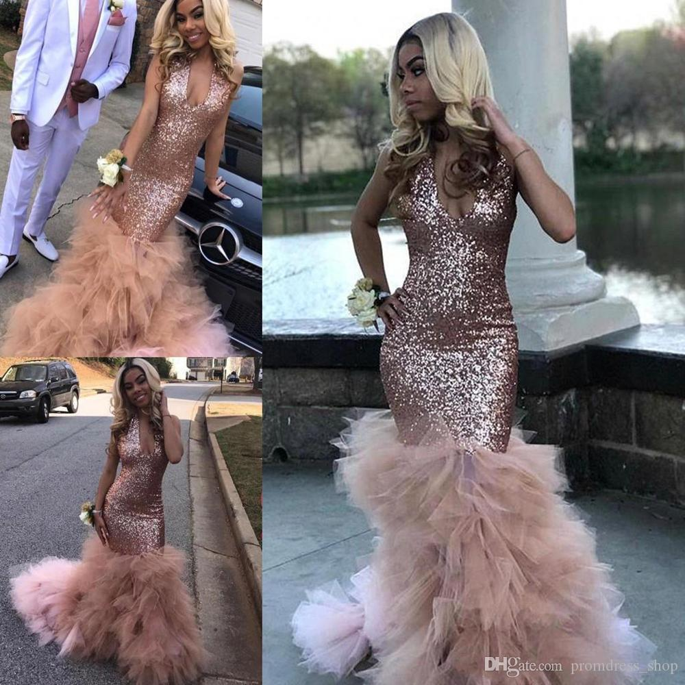 African Black Girls Sequined Prom Dress Rose Gold Formal Pageant Holidays Wear Graduation Evening Party Gown Custom Made Plus Size 2020