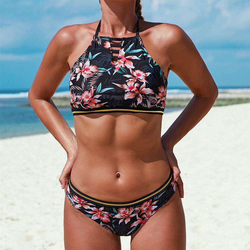 Halter acolchado traje de baño femenino floral del color del bikini 50% Trajes de natación Mujeres Ruffle las tapas del tanque de la cintura baja de Tankini