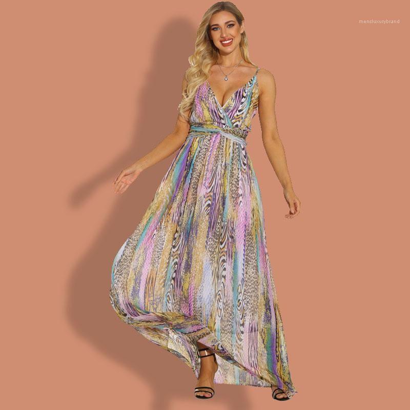 Designer V Neck Dresses Sleeveless Floral Printed Summer Dress Spaghetti Strap Maxi Irregular Loose Sundress Hot Sale Womens