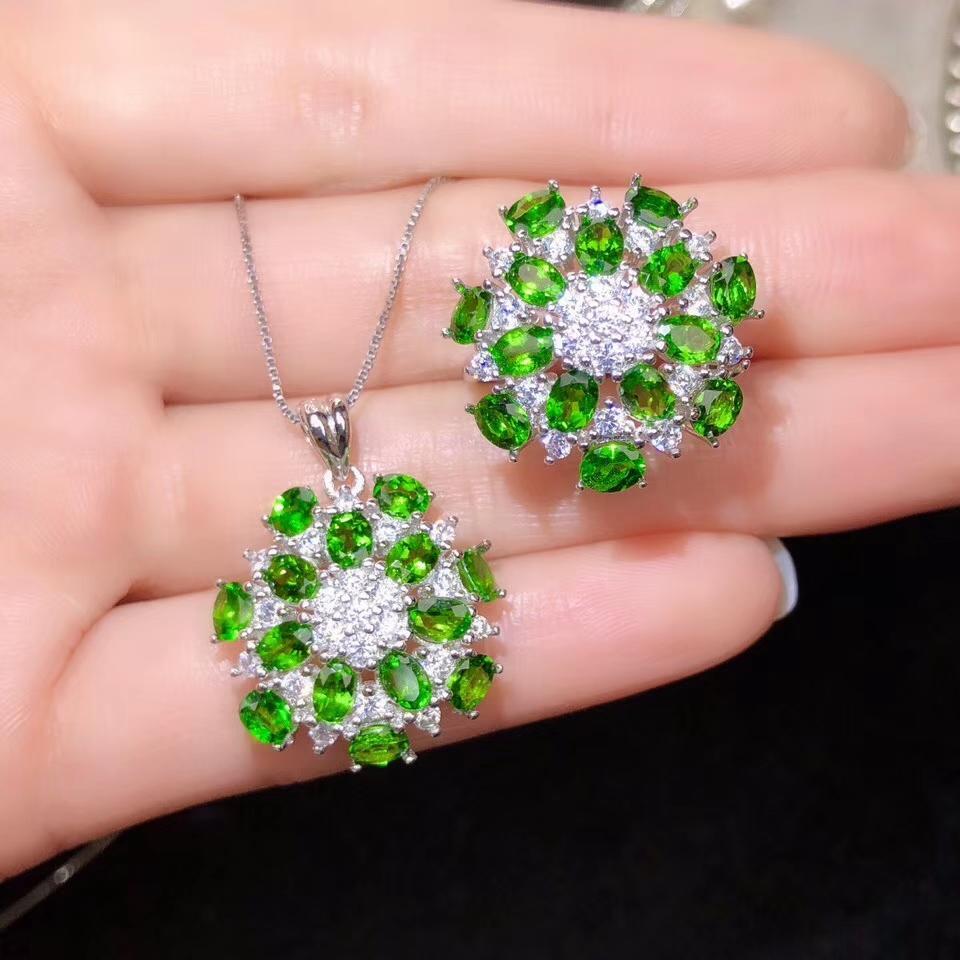 encantador claro anillo de piedras preciosas y joyas collares Diopsido verde de la manera fija con la plata para las mujeres