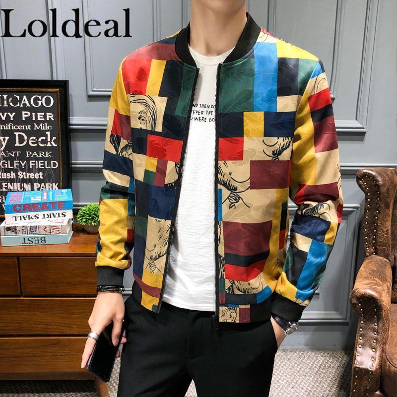 Loldeal Men's Jacket Long Sleeve Mens Autumn Winter Printed Top Man Jacket Casual Coat Sporting