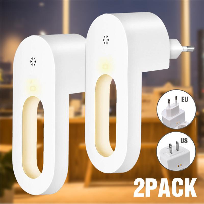 2 개 플러그인 밤 빛 따뜻한 화이트 LED 야간 조명 새벽 센서 침실 욕실 주방 복도 계단 EU / 미국 플러그