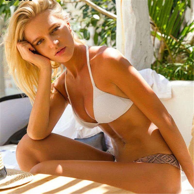 Brand New Summer Women 2020 Холтер пэчворк вязать бикини набор купальники стринги стринги пуш-ап Бюстгальтер белый купальник