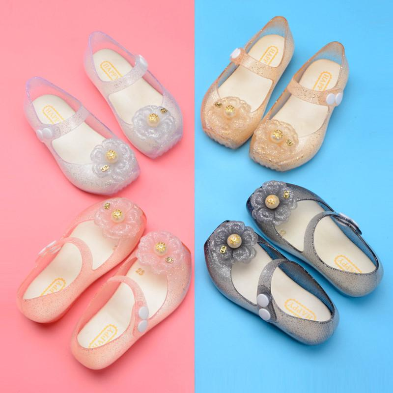 Happy Children's Jelly Shoes New Melissa Fashion Sparkle Flower Girl's summer sanda Korean Princess Candy Beach Shoes SH071