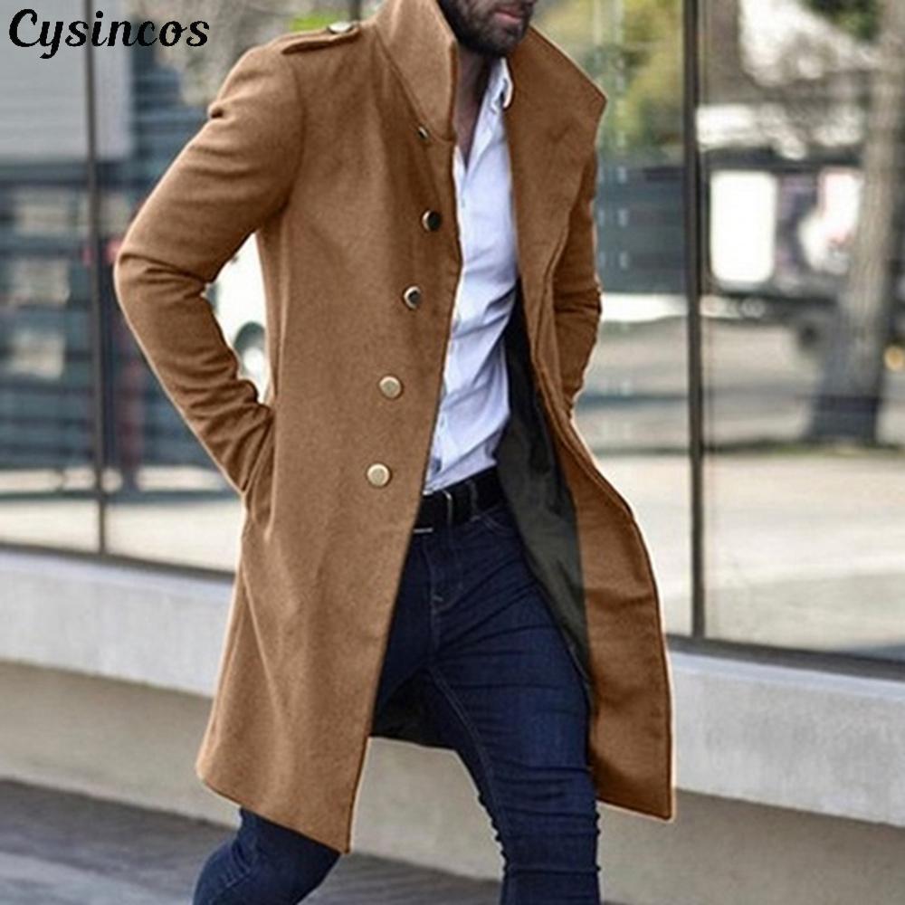 CYSINCOS عالية الجودة خندق معطف الرجال شتاء كلاسيك طويل نحيف معطف الرجال الخريف خندق الصلبة سترة واقية خمر الأخلاط معاطف