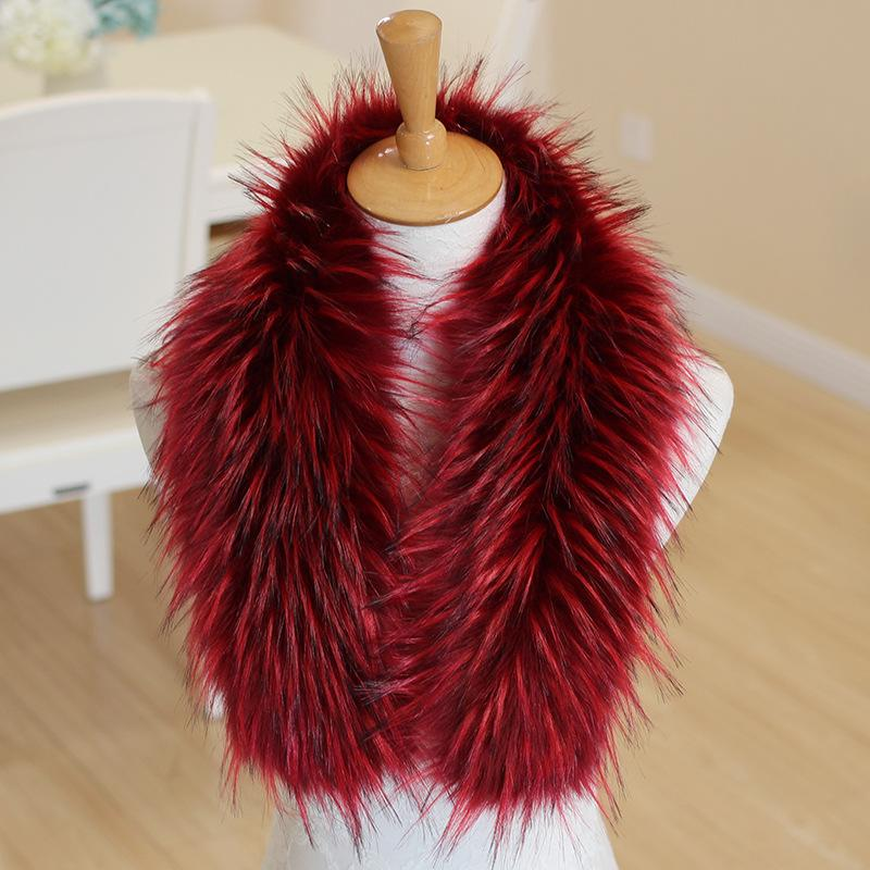 faux fox Fur Scarf Women winter Big Size Fur Collar Scarves Fluffy Coat collar neck warmer wrap for ladies rainbow color